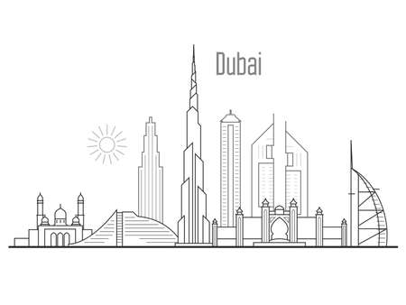 Dubai city skyline - towers and landmarks cityscape in liner style Illustration