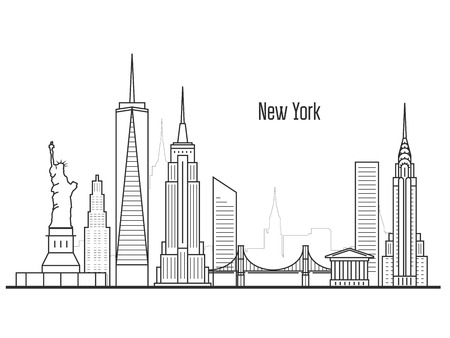 New York city skyline - Manhatten cityscape, towers and landmarks in liner style 矢量图像