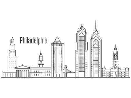 필라델피아 도시의 스카이 라인 - 시내 풍경, 타워 및 라이너 스타일의 랜드 마크 일러스트