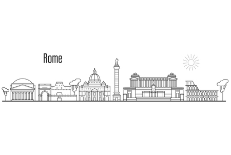 Rome and Vatican city skyline - cityscape with landmarks in liner style