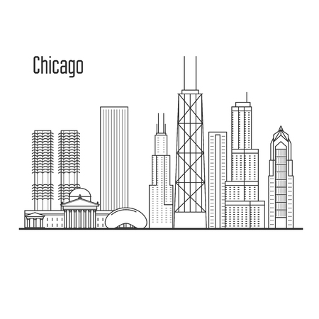 Chicago skyline - downtown cityscape, city landmarks in liner style