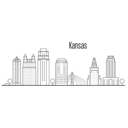 Kansas city skyline - downtown cityscape, city landmarks in liner style.