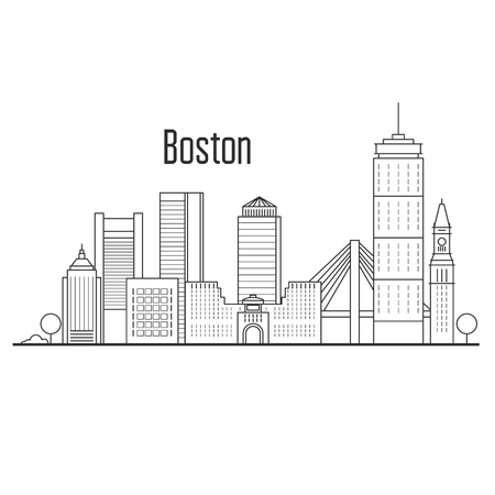 Boston city skyline - downtown cityscape, city landmarks in liner style.