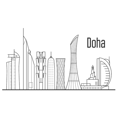 City of Dona skyline - downtown cityscape, Qatar landmarks in liner style. Stock Vector - 93810778