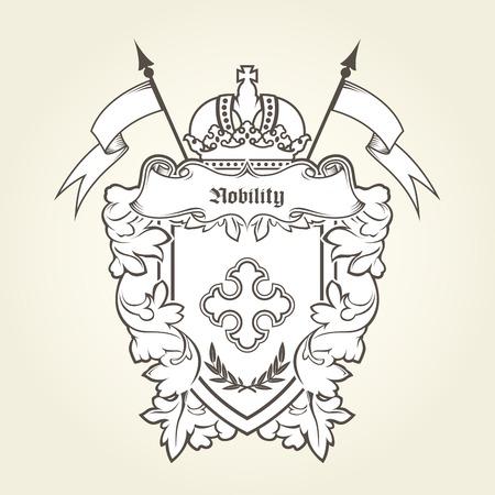 Heraldisch embleem koninklijk wapen met keizerlijke symbolen, schild en kroon Stock Illustratie