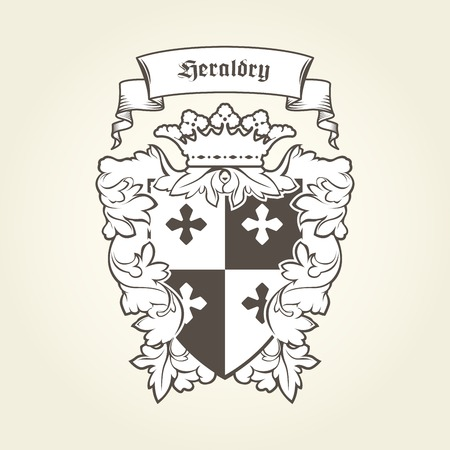 Heraldic royal coat of arms with imperial symbols, shield, crown and banner
