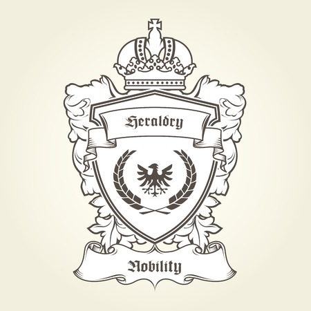 Coat of arms template with heraldic eagle, shield, crown and banner. Illustration