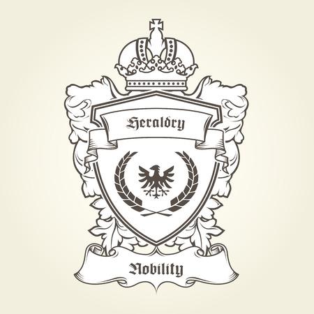 Wapenschild sjabloon met heraldische adelaar, schild, kroon en banner. Stock Illustratie