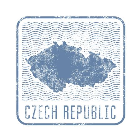 Czech travel stamp with silhouette of map of Czech republic