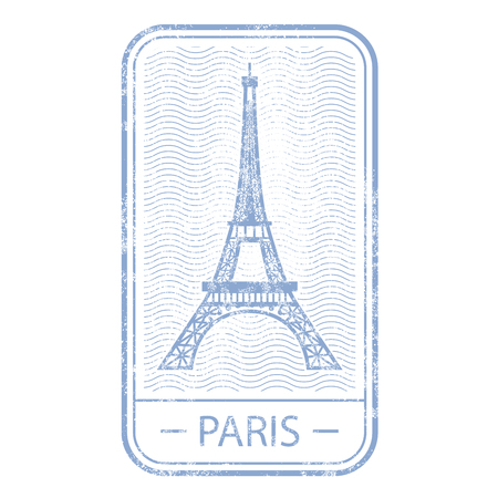 Stamp with symbol of Paris Illustration