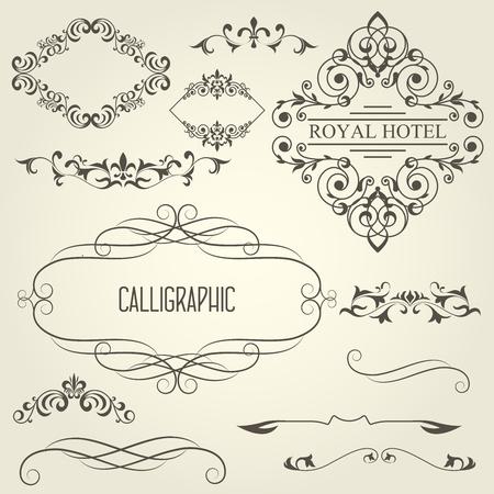 Vintage calligraphic frames with vignettes and ornamental dividers Illustration