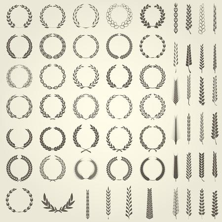 Set of Laurel Wreaths and ears of wheat in heraldic style Иллюстрация