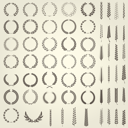 Set of Laurel Wreaths and ears of wheat in heraldic style Illustration