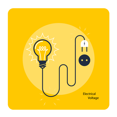 Light bulb with plug on cord - icon, electricity and voltage concept.