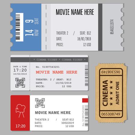 Templates of modern tickets for cinema or concert entrance Illustration
