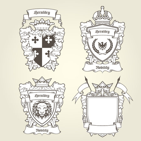 Coat of arms templates, heraldic shield with blazons.