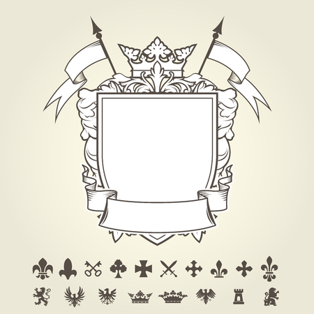 Blank template of coat of arms with shield and set of heraldic symbols Vector illustration. Stock Illustratie