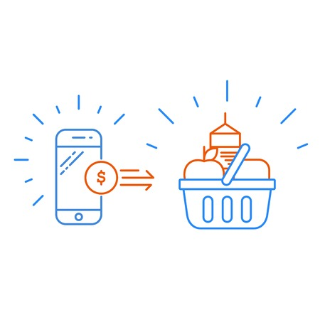 Smartphone and shopping basket, products purchase and mobile payment concept