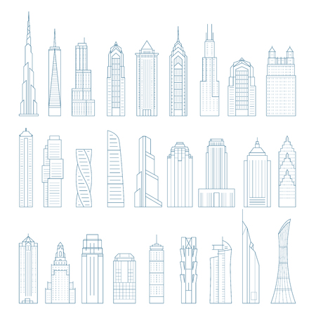 Modern megalopolis skyscrapers and buildings - towers and landmarks
