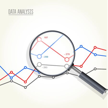 Magnifying glass over charts vector illustration