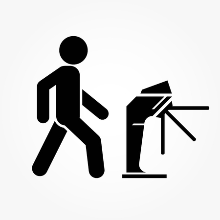 Underground turnstile - icon of people pass through the turnstile Illustration