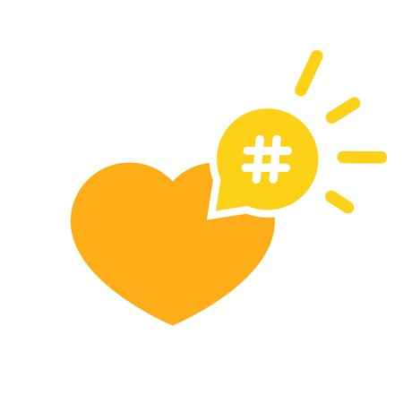 Hashtag icon like heart - smm promotion and share interesting message symbol.