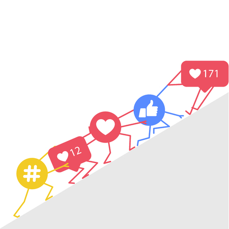 Smm promotion and marketing - hashtags icon, likes and rating symbols supporting each other