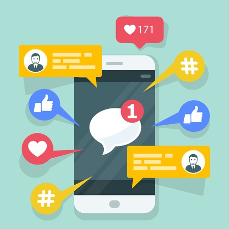 Viral content, sms and social activity - likes, shares and comments popping up on the mobile screen