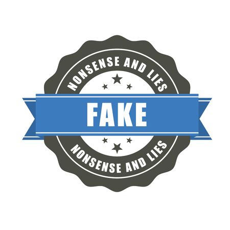 Fake badge - sticker with inscription Fake, falsification concept