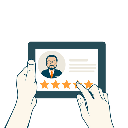 Leave a client's review concept with tablet pc and hands Illustration.