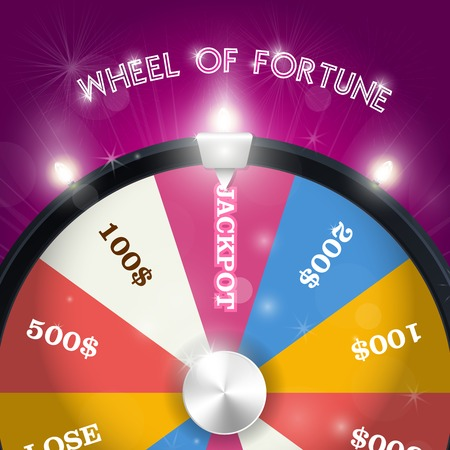 Wheel of fortune - jackpot  sector, lottery win concept