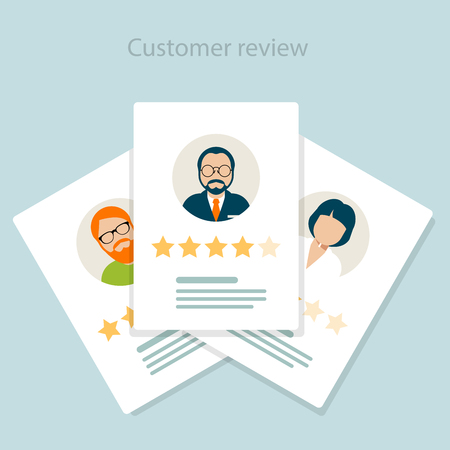 Reviewer opinion customer review of service, rating concept