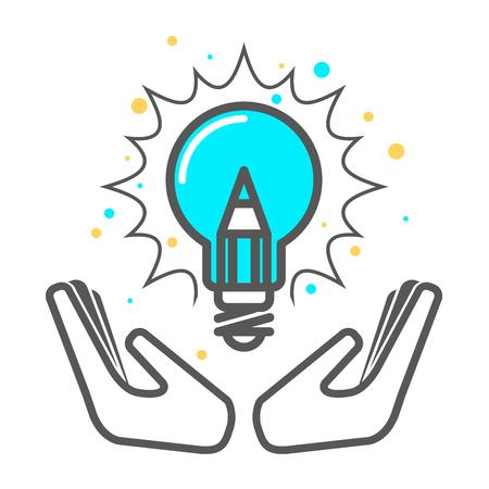 Cherish a creative idea - light bulb icon, invention concept  イラスト・ベクター素材