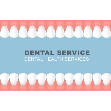 Dental poster with frame of row of teeth - foretooth line Archivio Fotografico - 99085195