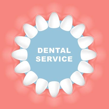Dental poster round frame, row of teeth Archivio Fotografico - 99182995