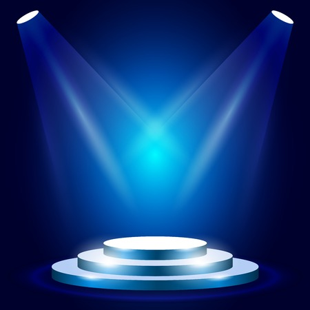 Stage or podium with spotlighting - award ceremony stage, blue podium scene