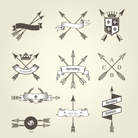 Set of coat of arms with bow arrows - emblems and blazons, heraldic seals
