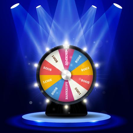 Lotterie großer Gewinn - Jackpot auf Glücksrad, Glücksspielkonzept Vektorgrafik