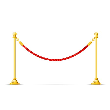 Golden barricade with red rope - barrier rope, vip zone