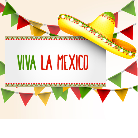 Banner viva la Mexico - Sombrero and party triangle bunting flags