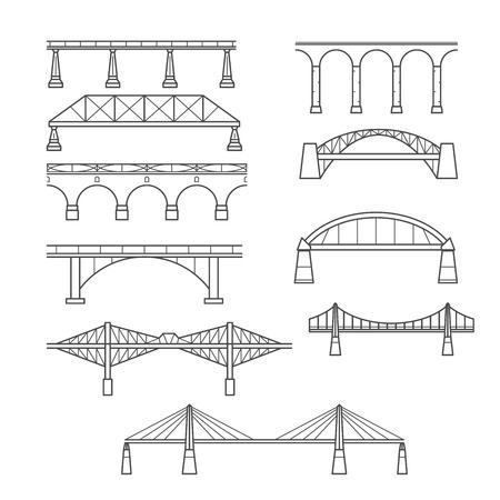 Types de ponts dans un ensemble de style linéaire - icône infographique de ponts