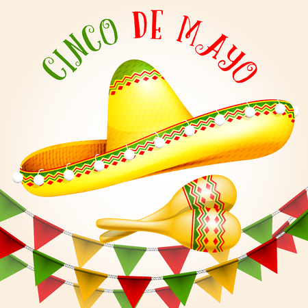 Cinco de Mayo poster with sombrero and maracas