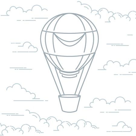 Romantischer Heißluftballon in den Wolken - Luftschiff im Strichkunststil