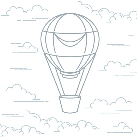 Romantic hot air balloon in clouds - airship in line art style