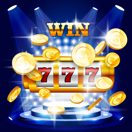Big win or jackpot - slot machine and coins, casino concert Illustration