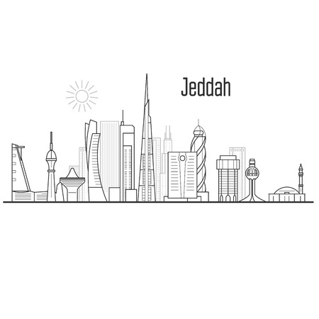 Jeddah city skyline - towers and landmarks, cityscape in liner style