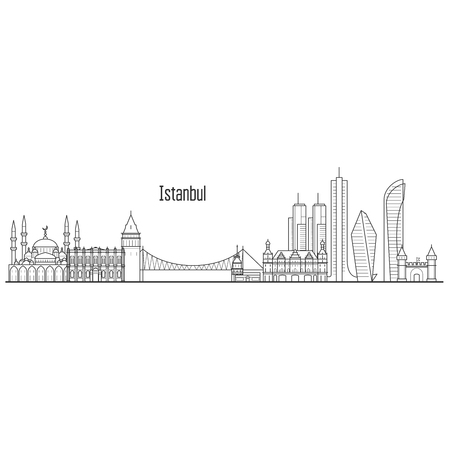 Istanbul city skyline - towers and landmarks cityscape in liner style