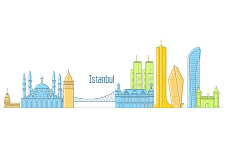 Istanbul cityscape - landmarks and sights of Istanbul in line art Illustration