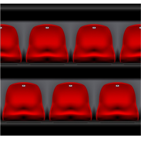 Row of stadium seating - sport arena, red plastic chairs front view