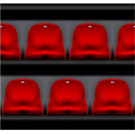 Fila de asientos del estadio - estadio deportivo, vista frontal de sillas de plástico rojo